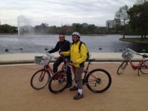 Islam Hussein from the Runstadler group (CRIP) and Justin Bahl (right) biking around Houston in between training.